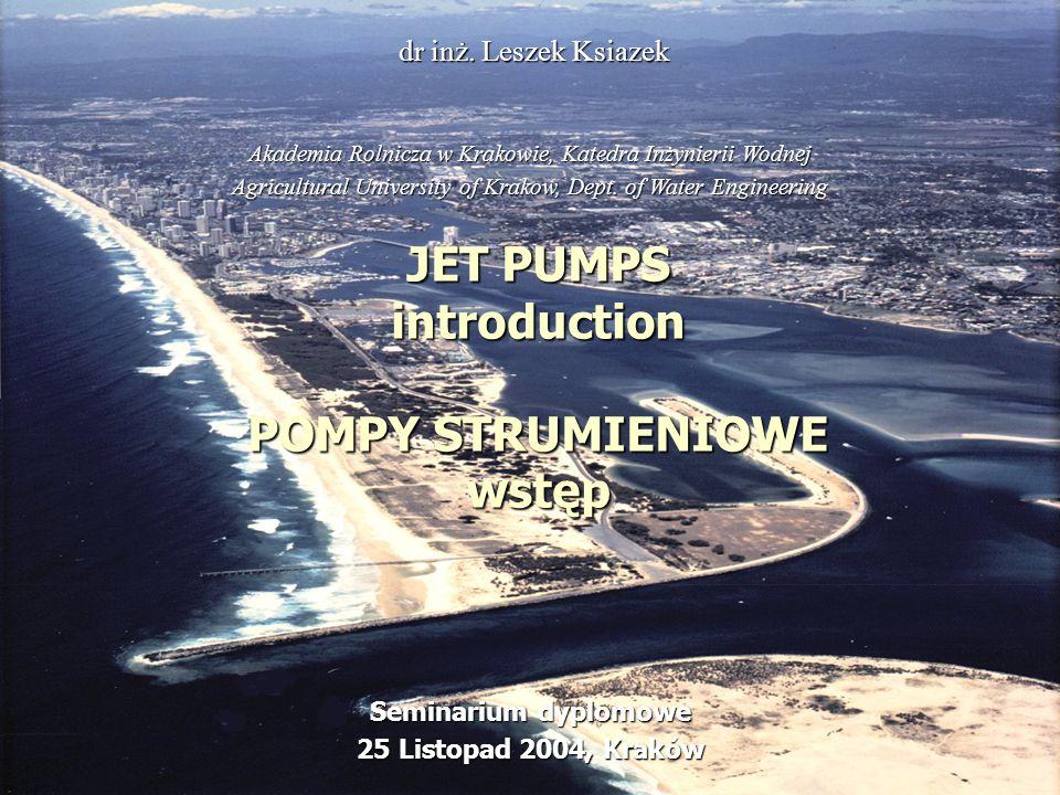 JET PUMPS introduction POMPY STRUMIENIOWE wstęp
