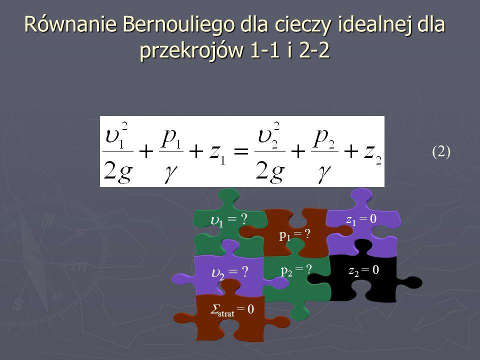 Równanie Bernouliego dla cieczy idealnej dla przekrojów 1-1 i 2-2