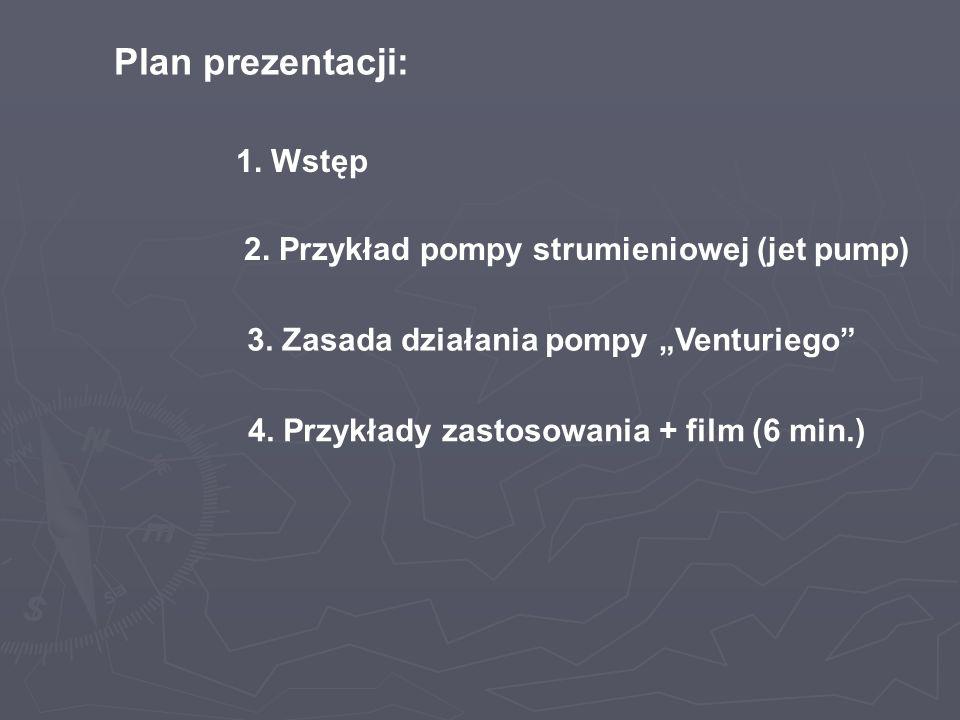 Plan prezentacji: 1. Wstęp 2. Przykład pompy strumieniowej (jet pump)