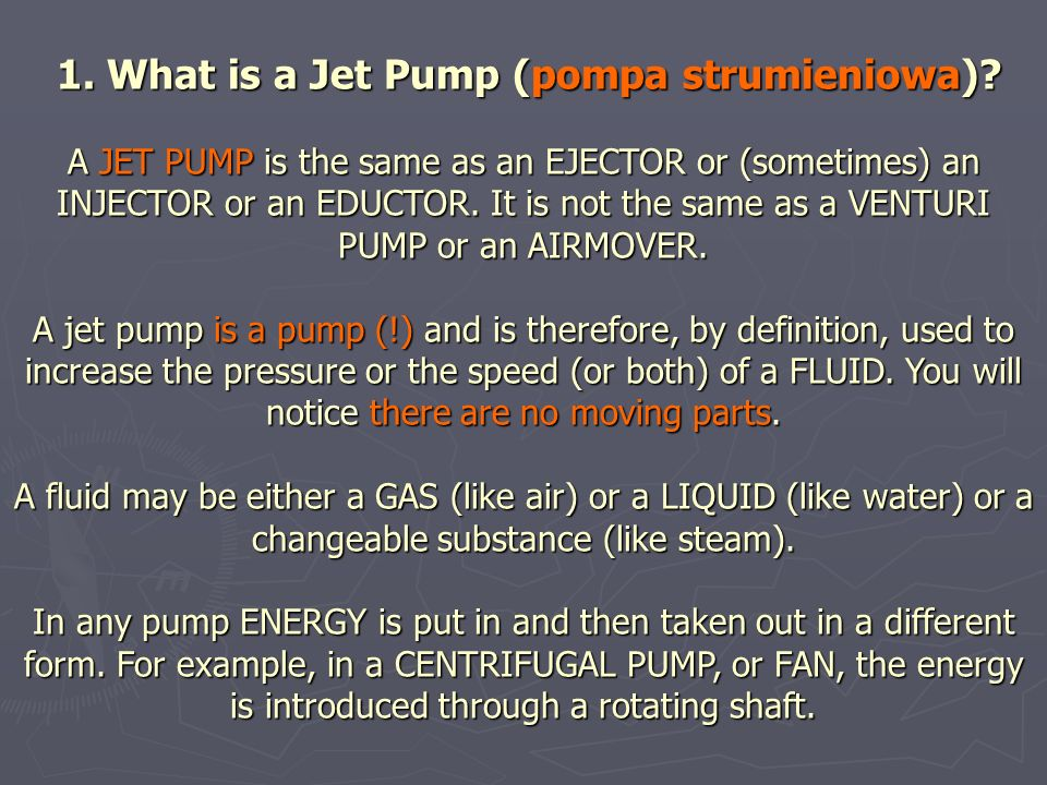 1. What is a Jet Pump (pompa strumieniowa)