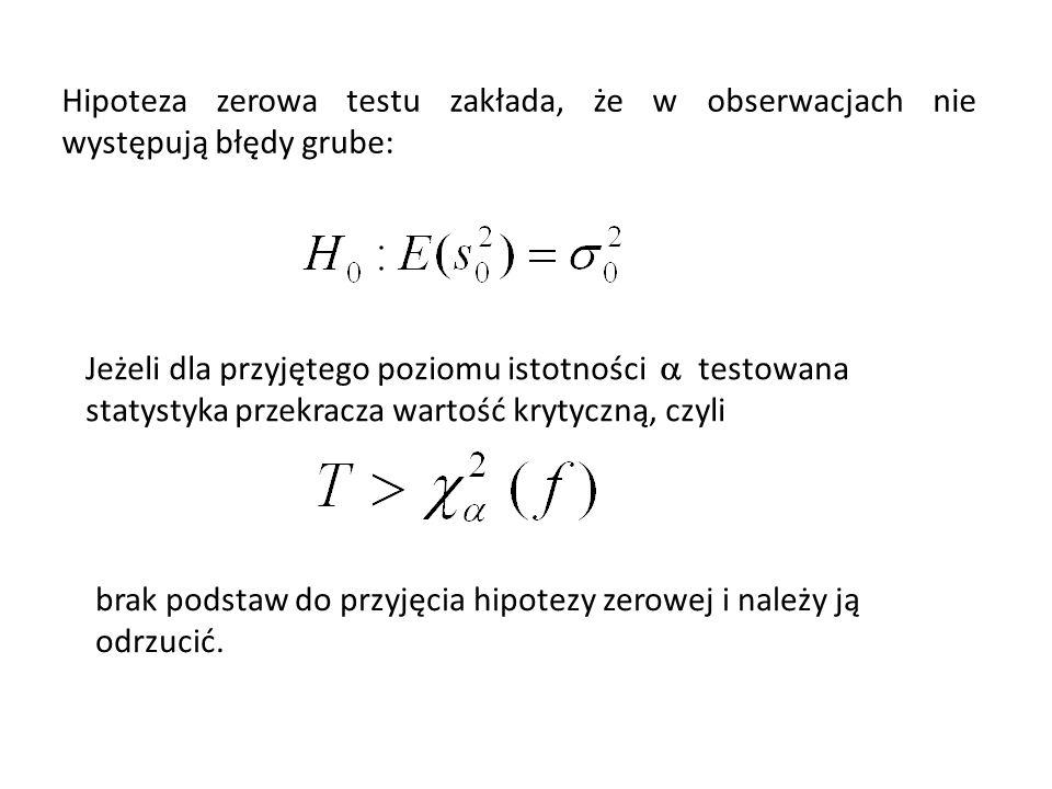 Hipoteza zerowa testu zakłada, że w obserwacjach nie występują błędy grube: