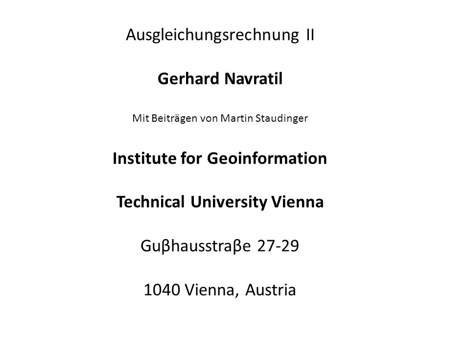 Institute for Geoinformation Technical University Vienna
