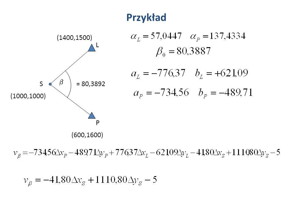 Przykład (1400,1500) L b S = 80,3892 (1000,1000) P (600,1600)