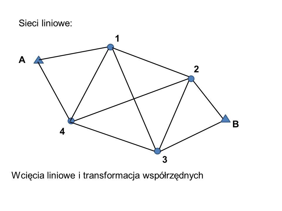 Sieci liniowe: 1 A 2 B 4 3 Wcięcia liniowe i transformacja współrzędnych