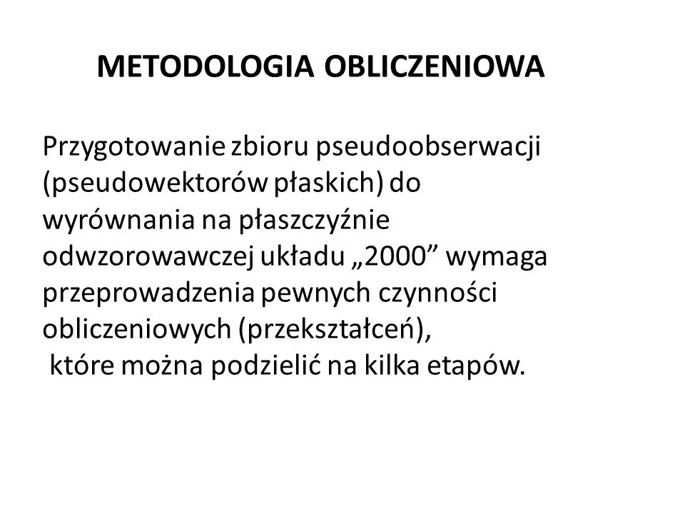 METODOLOGIA OBLICZENIOWA