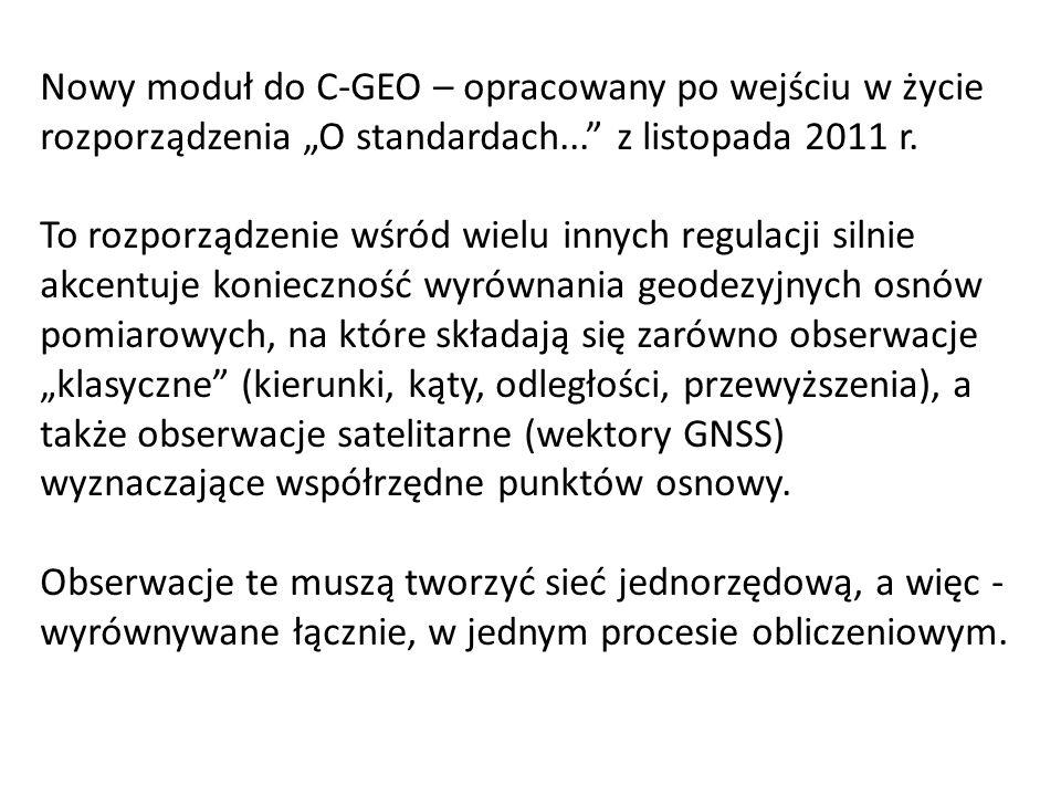 """Nowy moduł do C-GEO – opracowany po wejściu w życie rozporządzenia """"O standardach... z listopada 2011 r."""