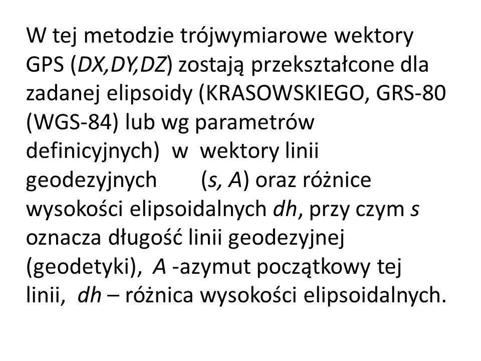 W tej metodzie trójwymiarowe wektory GPS (DX,DY,DZ) zostają przekształcone dla zadanej elipsoidy (KRASOWSKIEGO, GRS-80 (WGS-84) lub wg parametrów definicyjnych) w wektory linii geodezyjnych (s, A) oraz różnice wysokości elipsoidalnych dh, przy czym s oznacza długość linii geodezyjnej (geodetyki), A -azymut początkowy tej linii, dh – różnica wysokości elipsoidalnych.