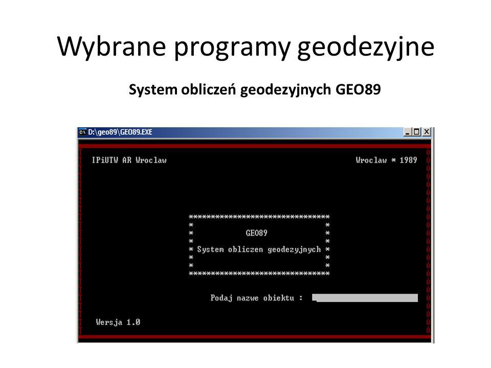 Wybrane programy geodezyjne