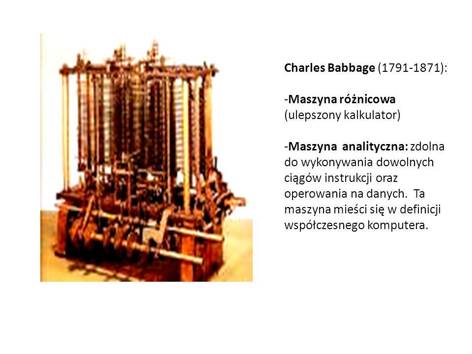 Charles Babbage (1791-1871): Maszyna różnicowa (ulepszony kalkulator)