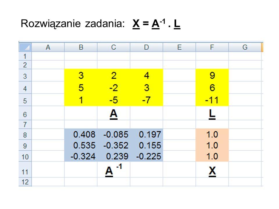 Rozwiązanie zadania: X = A-1 . L