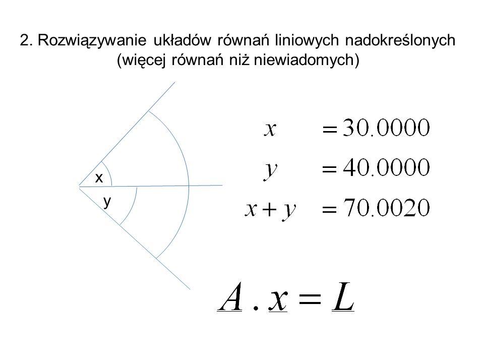 2. Rozwiązywanie układów równań liniowych nadokreślonych