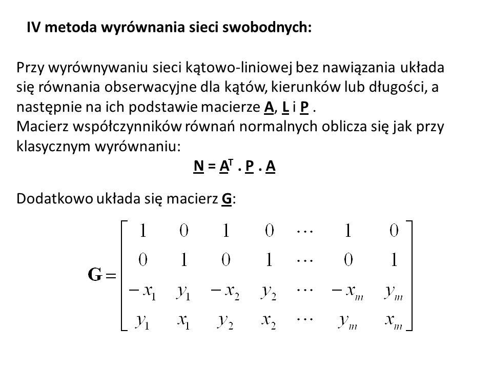 IV metoda wyrównania sieci swobodnych: