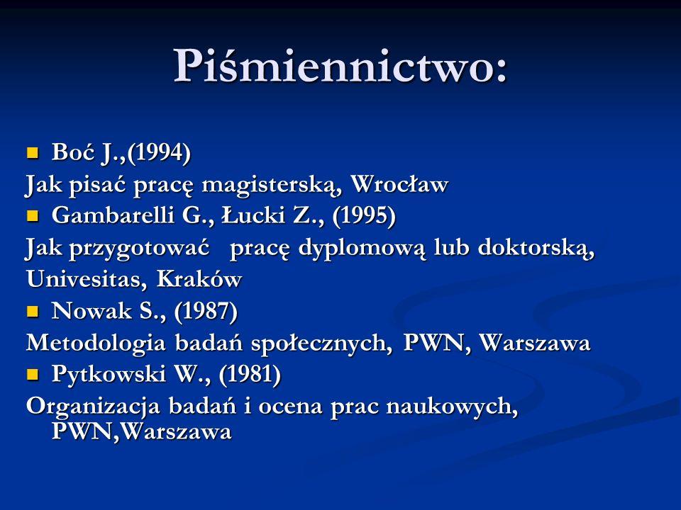 Piśmiennictwo: Boć J.,(1994) Jak pisać pracę magisterską, Wrocław