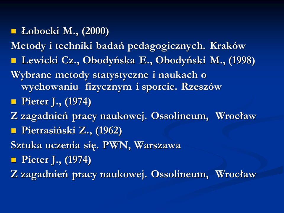 Łobocki M., (2000) Metody i techniki badań pedagogicznych. Kraków. Lewicki Cz., Obodyńska E., Obodyński M., (1998)