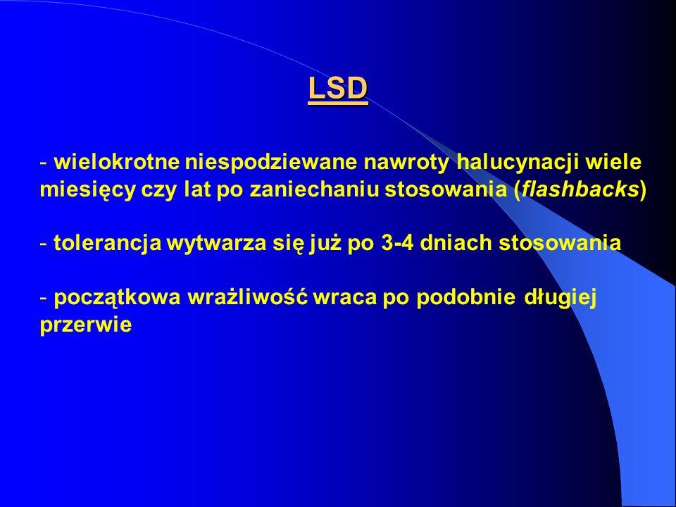 LSD wielokrotne niespodziewane nawroty halucynacji wiele miesięcy czy lat po zaniechaniu stosowania (flashbacks)