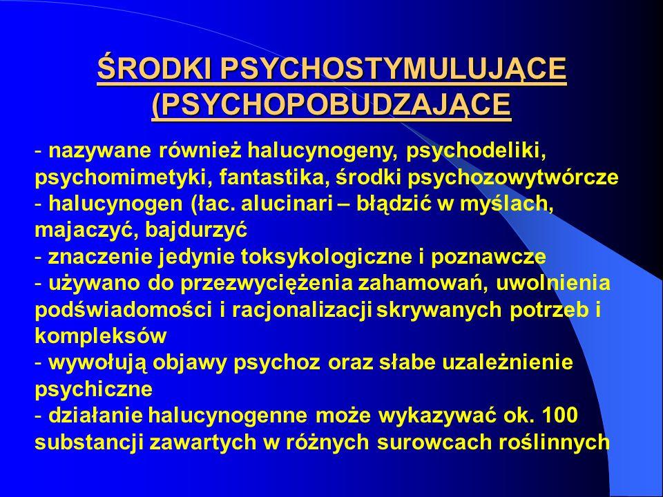 ŚRODKI PSYCHOSTYMULUJĄCE (PSYCHOPOBUDZAJĄCE