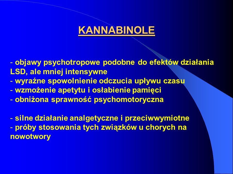 KANNABINOLE objawy psychotropowe podobne do efektów działania LSD, ale mniej intensywne. wyraźne spowolnienie odczucia upływu czasu.