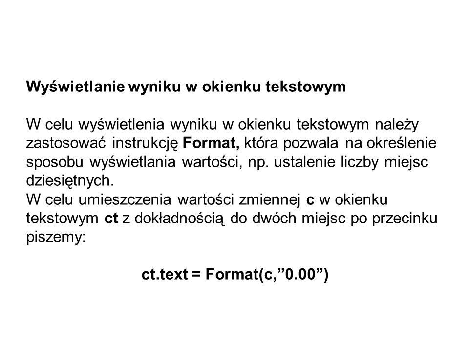 Wyświetlanie wyniku w okienku tekstowym