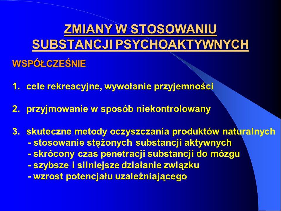 ZMIANY W STOSOWANIU SUBSTANCJI PSYCHOAKTYWNYCH