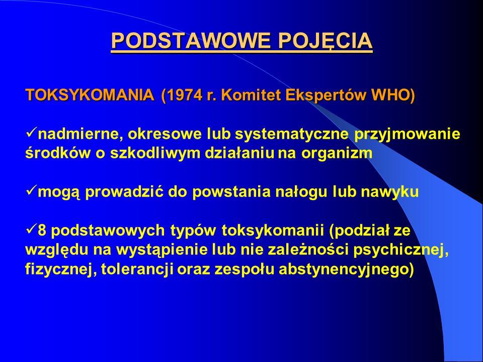 PODSTAWOWE POJĘCIA TOKSYKOMANIA (1974 r. Komitet Ekspertów WHO)