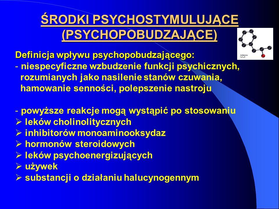 ŚRODKI PSYCHOSTYMULUJĄCE (PSYCHOPOBUDZAJĄCE)