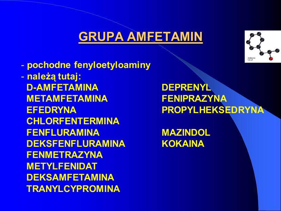 GRUPA AMFETAMIN pochodne fenyloetyloaminy należą tutaj: