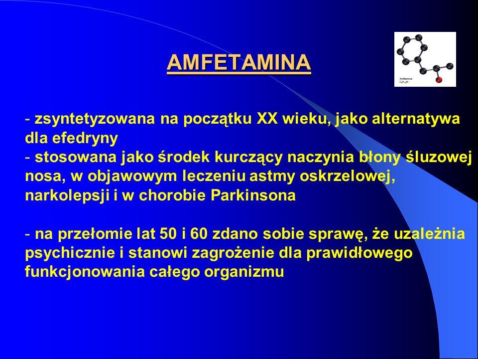 AMFETAMINA zsyntetyzowana na początku XX wieku, jako alternatywa dla efedryny.