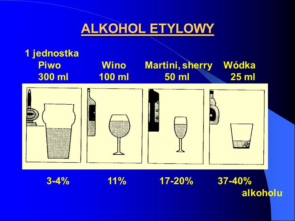 ALKOHOL ETYLOWY 1 jednostka Piwo Wino Martini, sherry Wódka