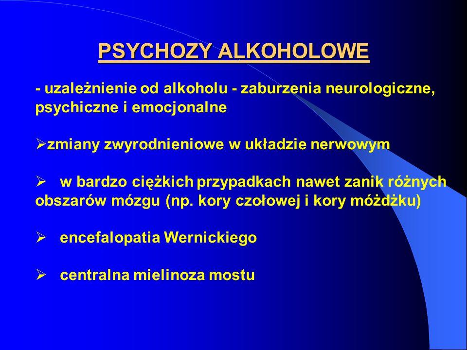 PSYCHOZY ALKOHOLOWE - uzależnienie od alkoholu - zaburzenia neurologiczne, psychiczne i emocjonalne.