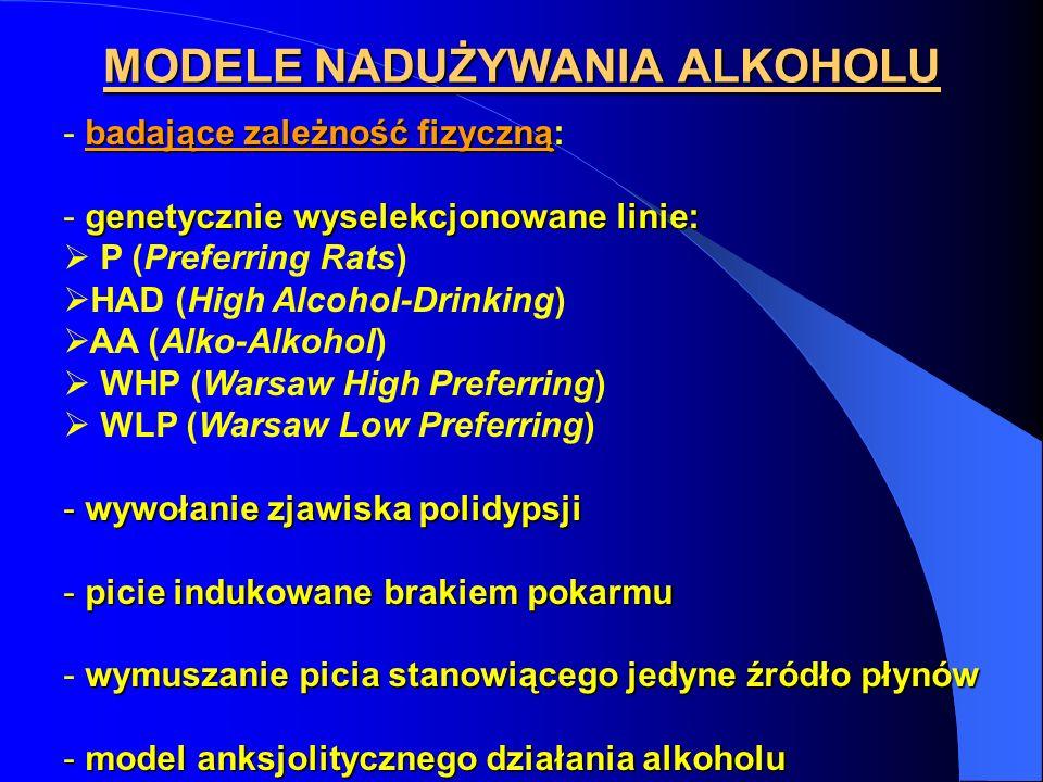 MODELE NADUŻYWANIA ALKOHOLU