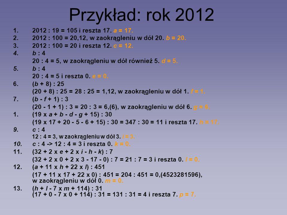 Przykład: rok 2012 2012 : 19 = 105 i reszta 17. a = 17.