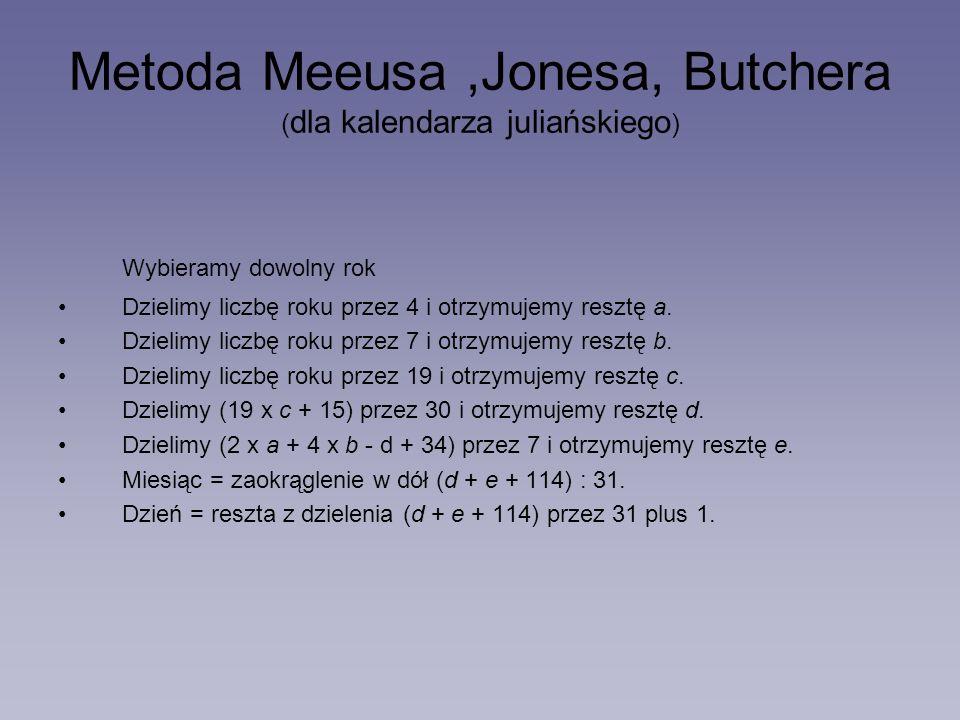 Metoda Meeusa ,Jonesa, Butchera (dla kalendarza juliańskiego)