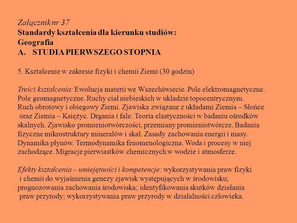 Standardy kształcenia dla kierunku studiów: Geografia