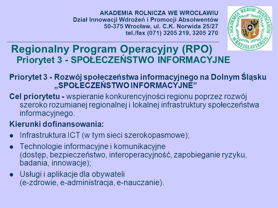AKADEMIA ROLNICZA WE WROCŁAWIU Dział Innowacji Wdrożeń i Promocji Absolwentów 50-375 Wrocław, ul. C.K. Norwida 25/27 tel./fax (071) 3205 219, 3205 270
