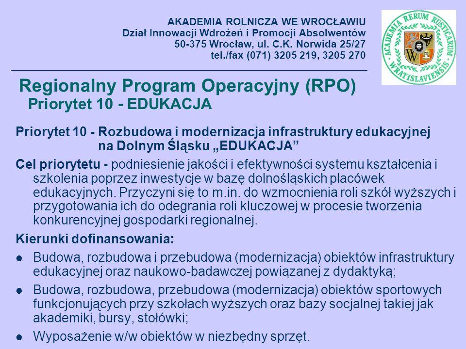 Regionalny Program Operacyjny (RPO) Priorytet 10 - EDUKACJA