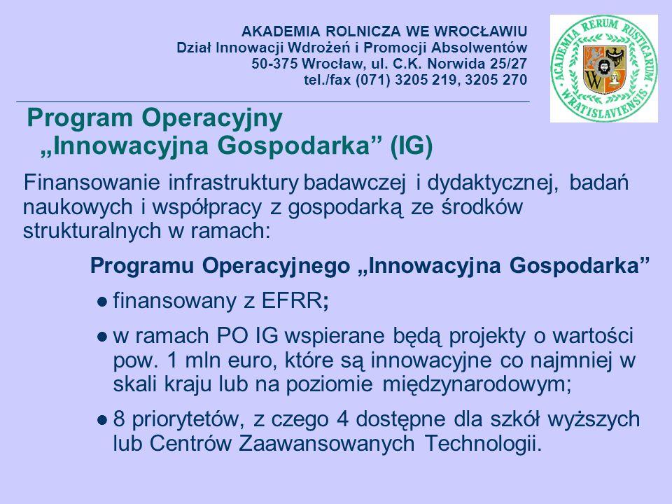 """Program Operacyjny """"Innowacyjna Gospodarka (IG)"""