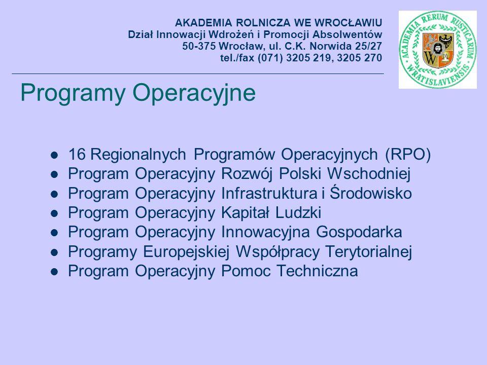 Programy Operacyjne 16 Regionalnych Programów Operacyjnych (RPO)