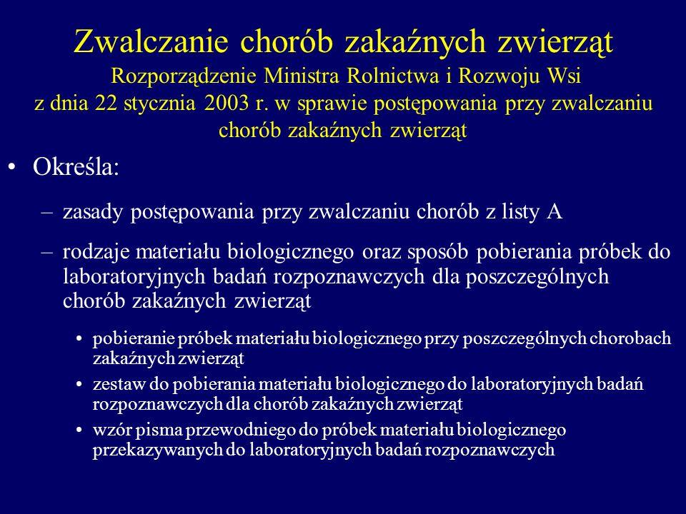 Zwalczanie chorób zakaźnych zwierząt Rozporządzenie Ministra Rolnictwa i Rozwoju Wsi z dnia 22 stycznia 2003 r. w sprawie postępowania przy zwalczaniu chorób zakaźnych zwierząt