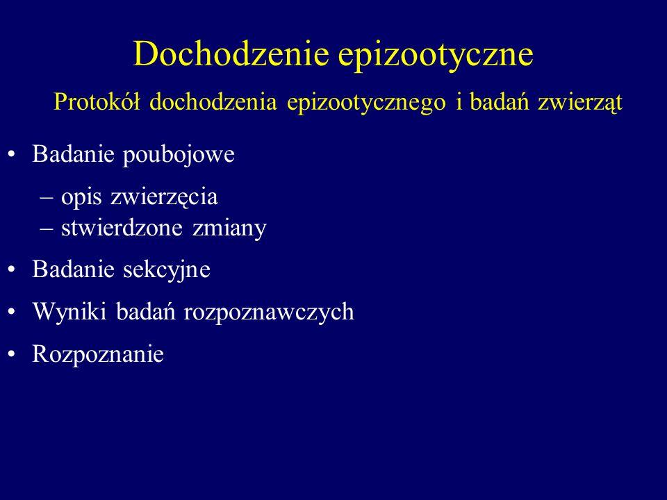 Dochodzenie epizootyczne Protokół dochodzenia epizootycznego i badań zwierząt