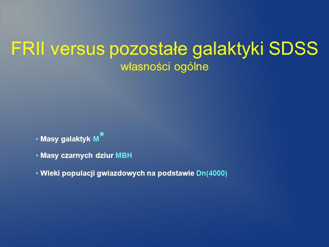 FRII versus pozostałe galaktyki SDSS własności ogólne