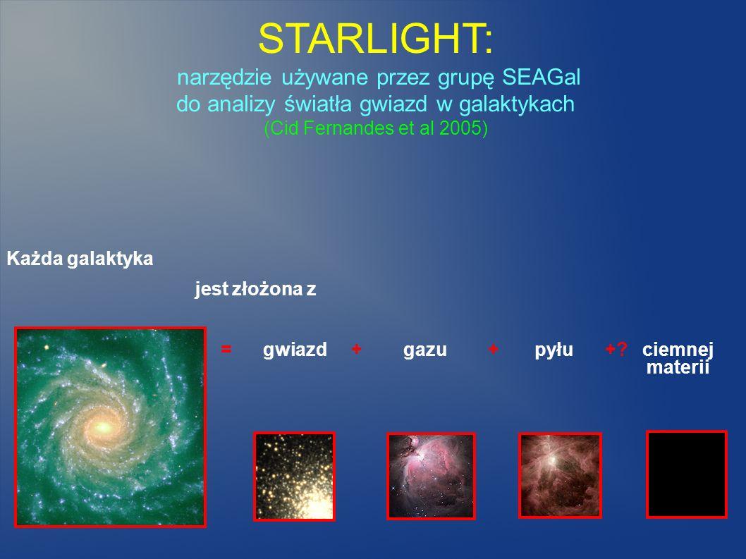 STARLIGHT: narzędzie używane przez grupę SEAGal do analizy światła gwiazd w galaktykach (Cid Fernandes et al 2005)