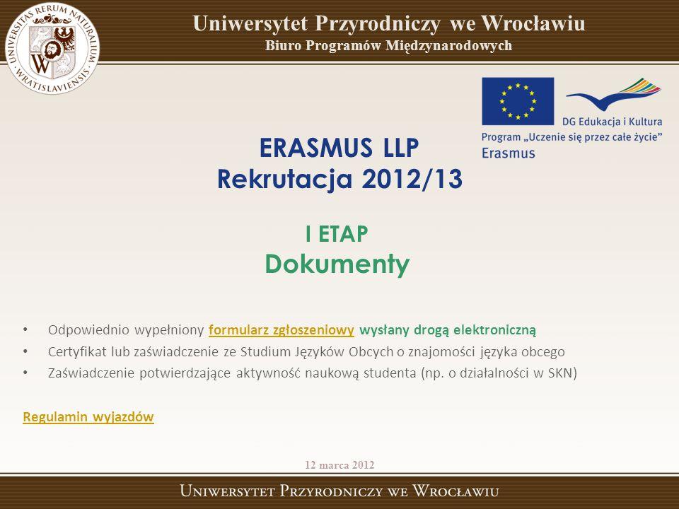 ERASMUS LLP Rekrutacja 2012/13 Dokumenty