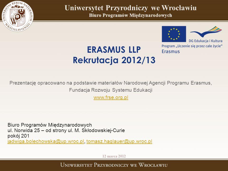 ERASMUS LLP Rekrutacja 2012/13