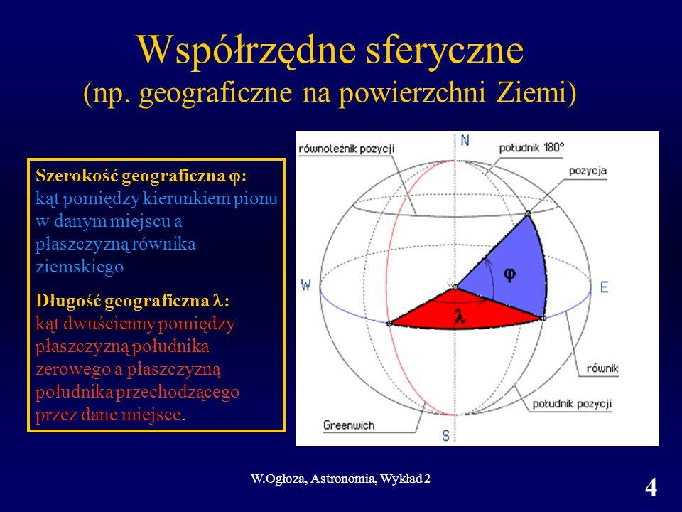 Współrzędne sferyczne (np. geograficzne na powierzchni Ziemi)