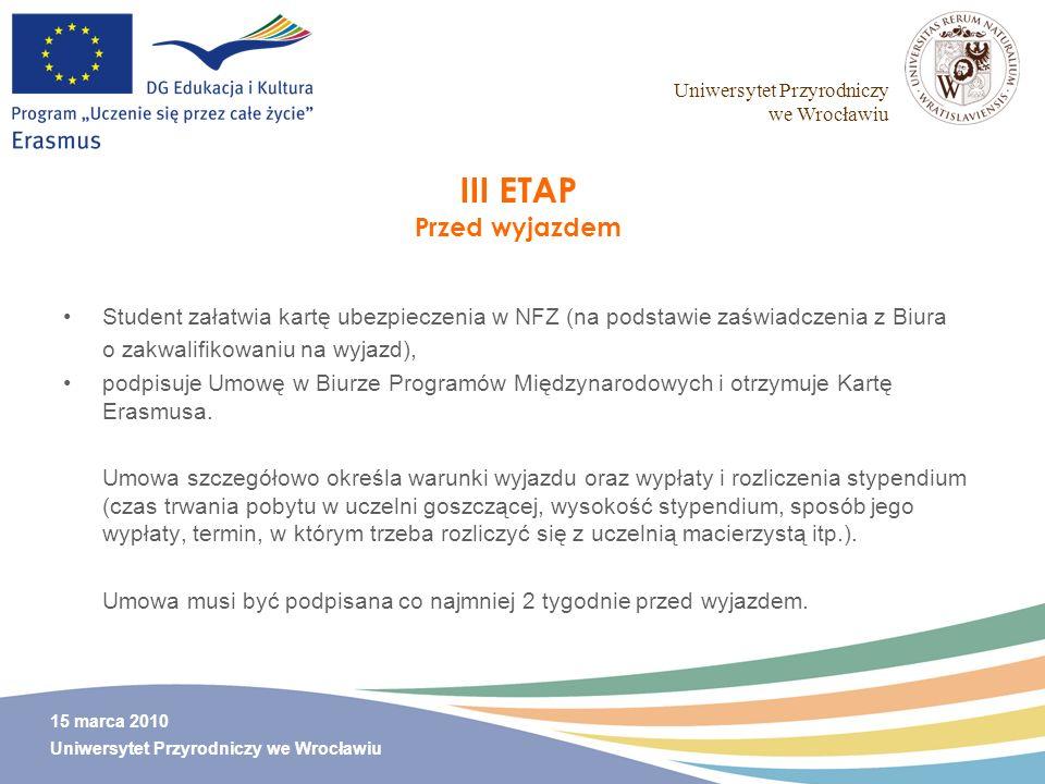 III ETAP Przed wyjazdem