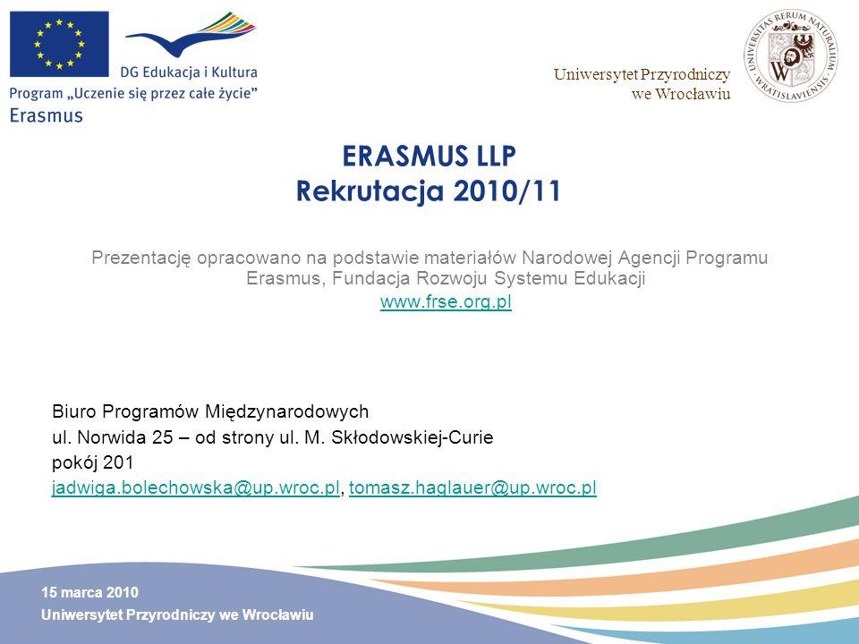 ERASMUS LLP Rekrutacja 2010/11