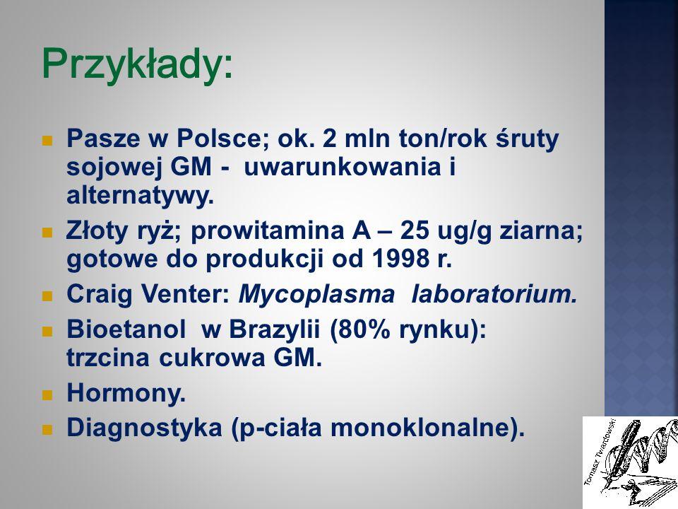 Przykłady: Pasze w Polsce; ok. 2 mln ton/rok śruty sojowej GM - uwarunkowania i alternatywy.