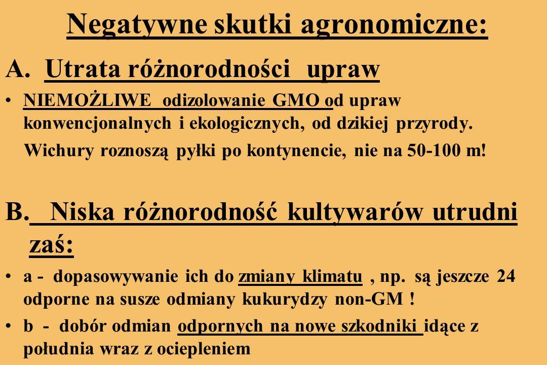 Negatywne skutki agronomiczne: