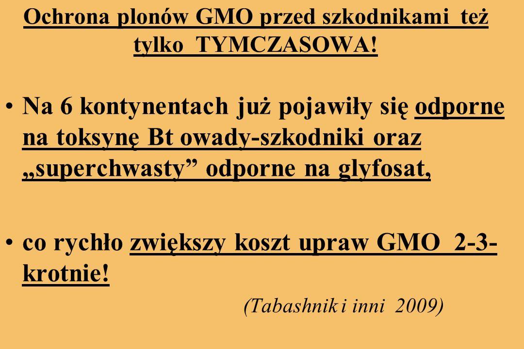Ochrona plonów GMO przed szkodnikami też tylko TYMCZASOWA!