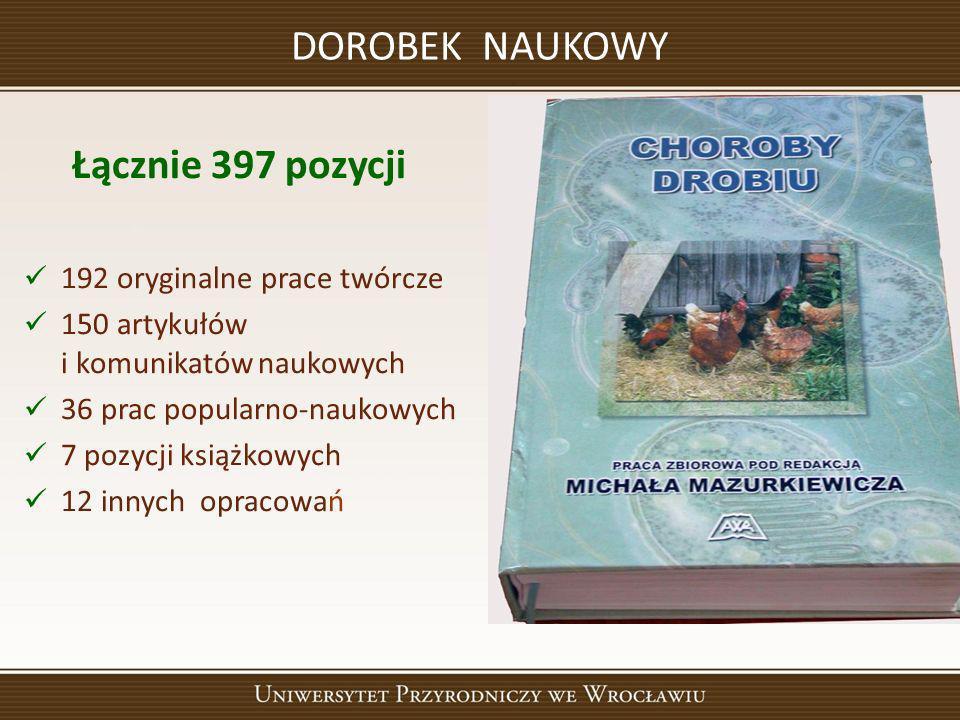 DOROBEK NAUKOWY Łącznie 397 pozycji 192 oryginalne prace twórcze